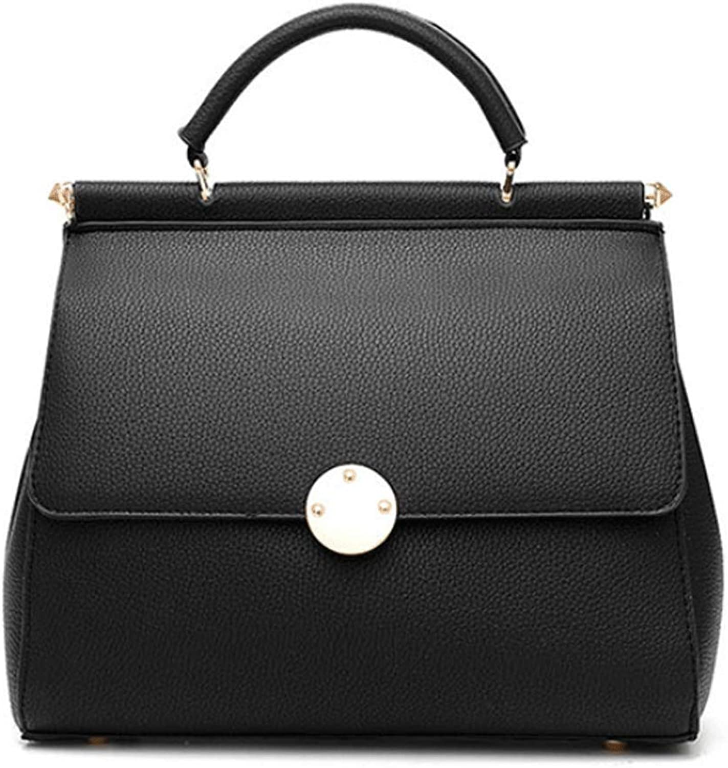 YKXIAOYU 2009 New Ladies Handbag Pu Small Square Bag Women's Single Shoulder Slant Bag Black