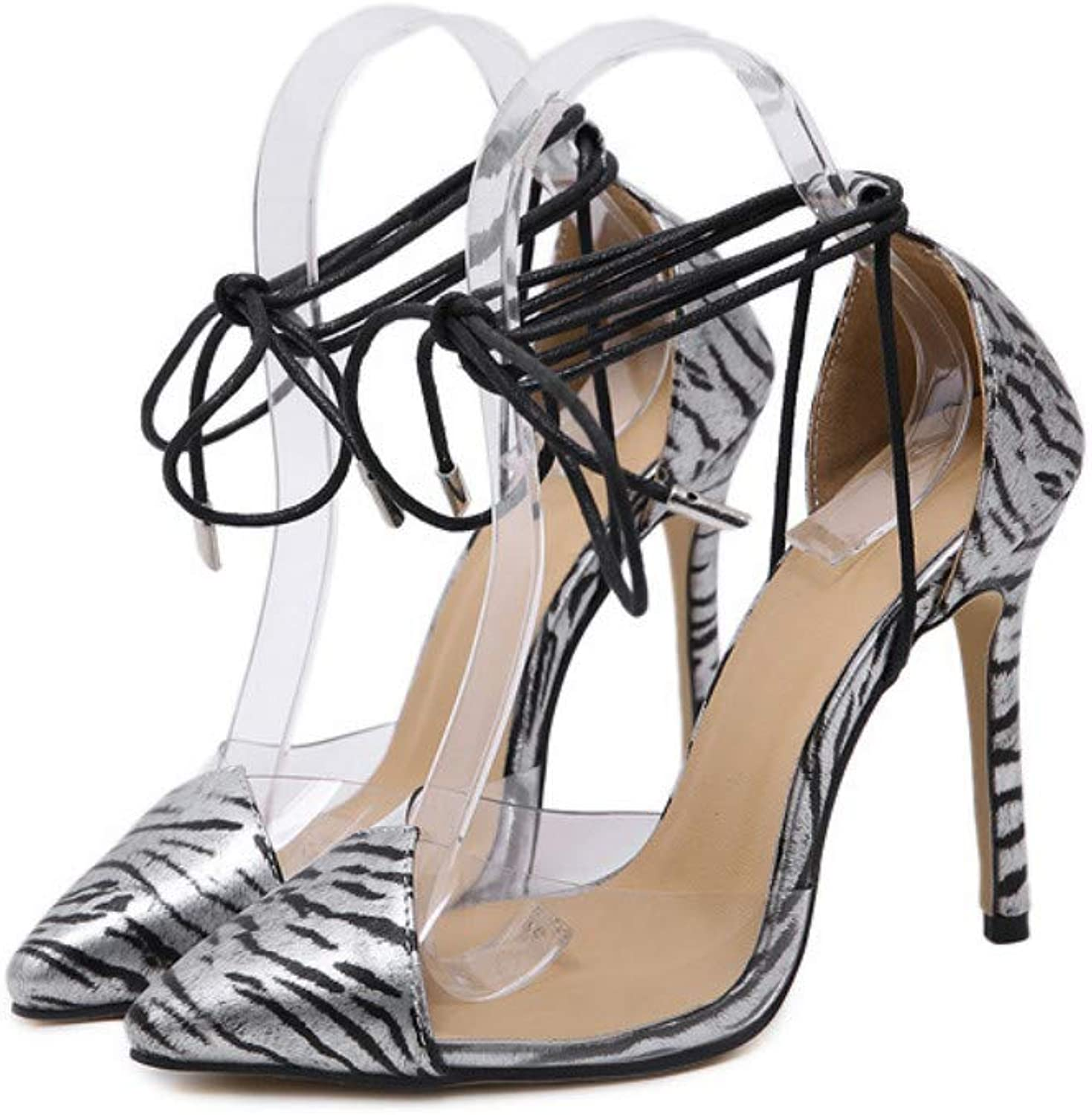 JQfashion Women's High-Heeled Sandals Sexy Pointed Thin-Heeled Transparent Hollow Strap-On Roman shoes