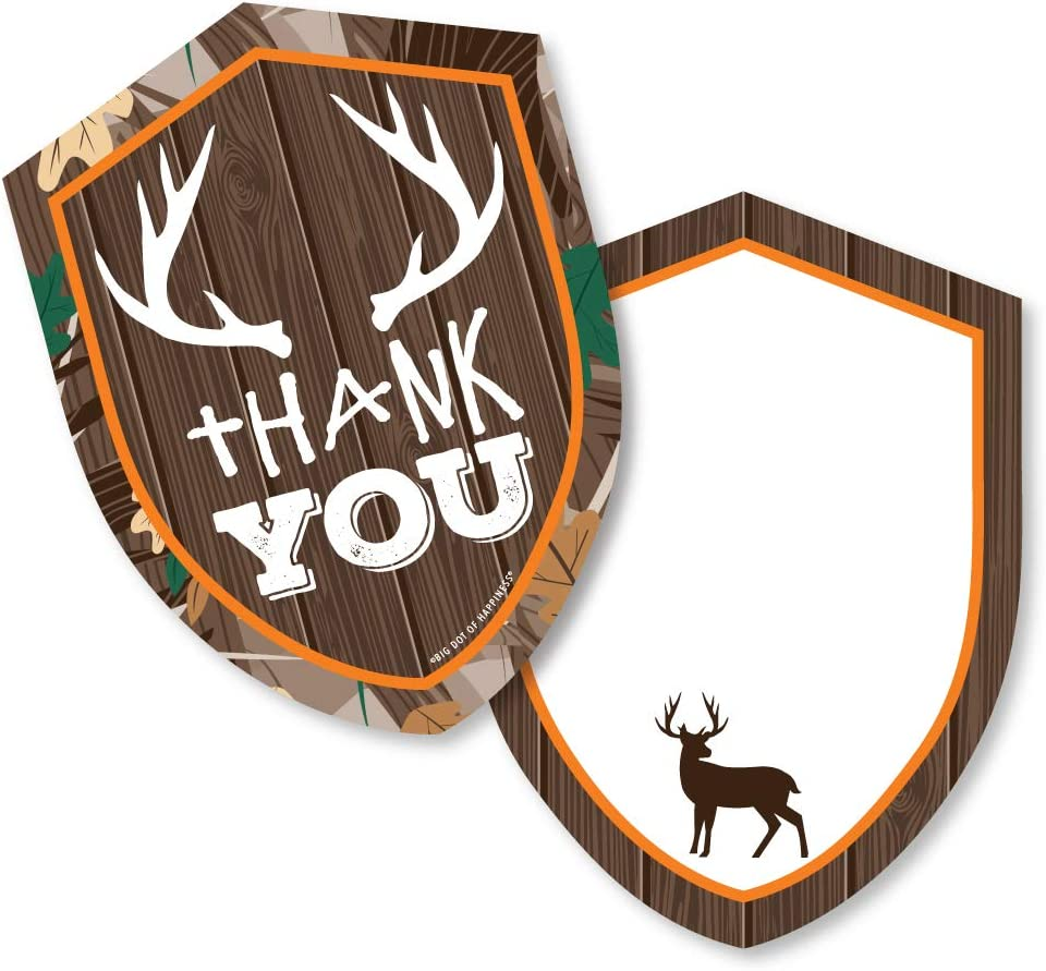 Amazon Com Gone Hunting Shaped Thank You Cards Deer Hunting Camo Baby Shower Or Birthday Party Thank You Note Cards With Envelopes Set Of 12 Office Products