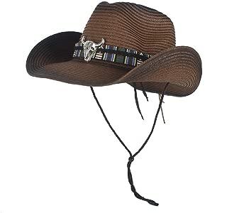 LiWen Zheng Summer Fashion Womem Men Female Male's Strew 100% Western Cowboy Hat Wide Brim Cowgirl Cow Head Leather Band
