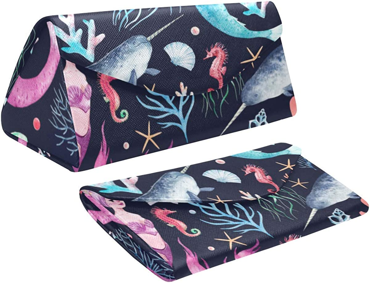 Eyeglass Cases Custom Sea pattern mermaids corals seahorse Painted Hard Shell Foldable Portable Glasses Case