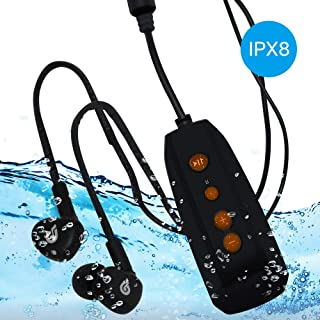 IPX8 MP3 Player Digital Lossless Music Player with Clip 8GB Waterproof MP3 Player with Waterproof Headphone for Running an...