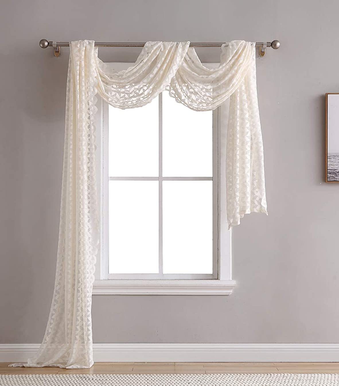 HLC.ME Herringbone Lace Sheer Window Curtain Scarf - Valance - 40