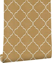 """HaokHome 633151 Modern Vinyl Trellis Peel and Stick Wallpaper Rolls Yellow/Orange/White Living Room Wall Murals Paper Home 17.7""""x 19.7ft Prepasted Contact Paper"""