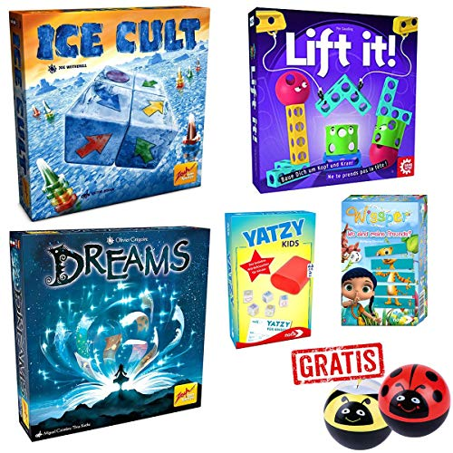 SPAR-SET 176389 - Familien-Spielepaket - Ice Cult, Lift it, Dreams, Yatzy Kids, Wissper