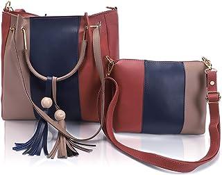 Glowic Shoulder Bag Leather Handbags Girls Stylish Latest Ideal for Women's & Girls Pack of Two(WBAG-04) (Set of 2, Multi ...