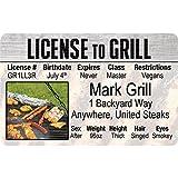 Grill Master–License to Grill–diversión novedad de carnet de conducir/Fake tarjeta de identificación