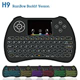 Mini Wireless Keyboard,H9 Mini Keyboard with Touchpad,Colorful Backlit Wireless...