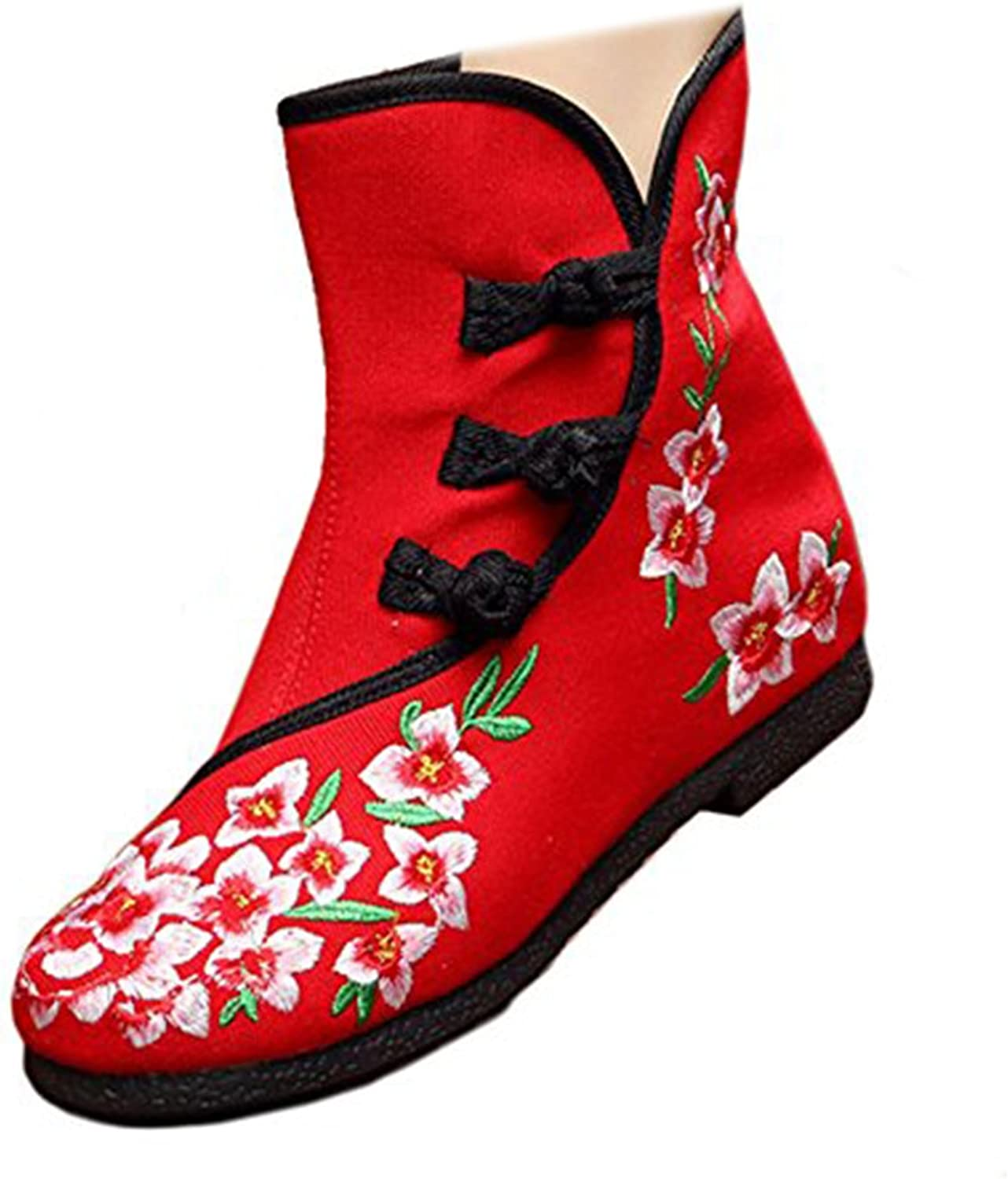 Shenghuajie Vintage Beijing Cloth shoes Embroidered Boots 12-02 red
