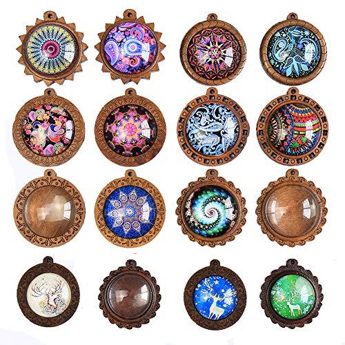 DAHI Anhänger Tablett Lünette mit Glas Cabochon Retro Glaskuppel Bastelset für DIY Souvenir Dild Medaillon Halskette Geschenk Schmuckherstellung … (Holz(type2))