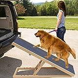 KLFD Rampa para Perros Rampa para Mascotas de Madera Escalera para Perros Altura Ajustable con Alfombra Antideslizante Escalera de Seguridad para Mascotas(27.6 * 15.7In o 39.4 * 23.6In),4 Gears