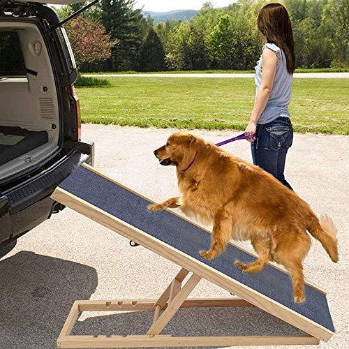 KLFD Rampa para Perros Rampa para Mascotas de Madera Escalera para Perros Altura Ajustable con Alfombra Antideslizante Escalera de Seguridad para Mascotas(27.6 * 15.7In o 39.4 * 23.6In),2 Gears