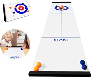 BicycleStore Table Top Curling Game for Family, Adults and Kids Team Board Game Training for Indoor or Travel Compact Storage