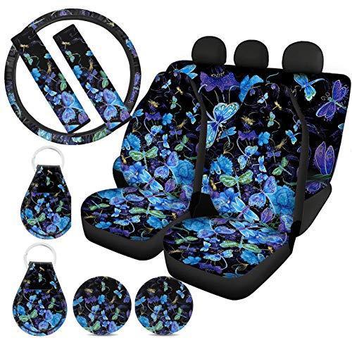 ZFRXIGN Dragonfly Car Accessories Seat Cover Front and Rear Seat Steering Wheel Cover Seat Belt Shoulder Strap Pads Cover Double Keychains Cup Mats 11 Pcs Blue
