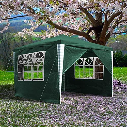 Clanmacy Pavillon 3x3m Wasserdicht Partyzelt UV-Schutz Gartenzelt Gartenpavillon mit 4 Seitenteilen Material PE-Plane für Markt Camping Hochzeiten Festival