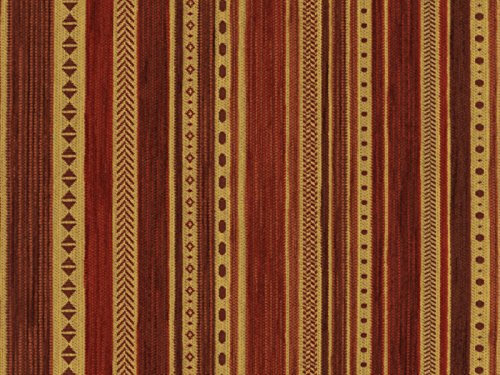 Landhaus Möbelstoff Kitzbühel Farbe 20 (rot, gelb, braun) - modernes Chenille-Flachgewebe (gemustert, gestreift) Polsterstoff, Stoff, Bezugsstoff, Eckbank, Couch, Sessel, Hussen, Kissen
