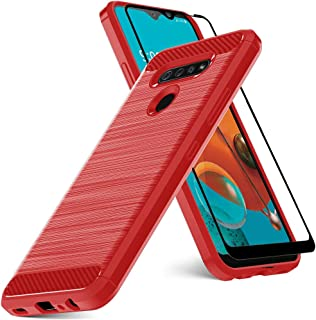 Dretal LG K51 Case, LG Reflect Case with Tempered Glass Screen Protector, Shock-Absorption Slim Fit Flexible TPU Case Brushed Texture Soft Rubber Protective Cover for LG Reflect/LG Q51(Red)
