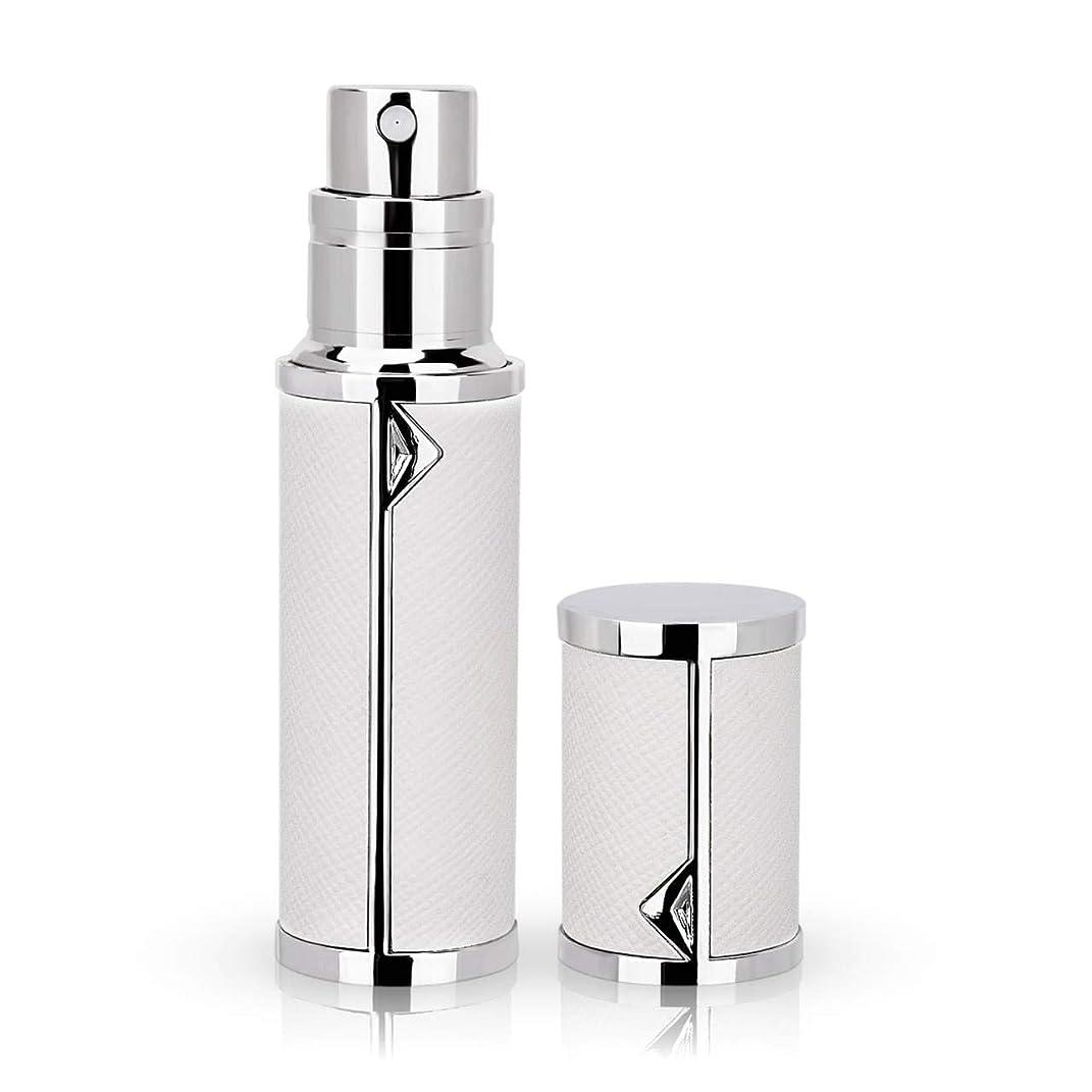 手入れ密輸インレイアトマイザー 香水アトマイザー 詰め替え Louischanzl 香水噴霧器 2-2.5mm径 5ml PUレザー レディース メンズ (白いWhite)