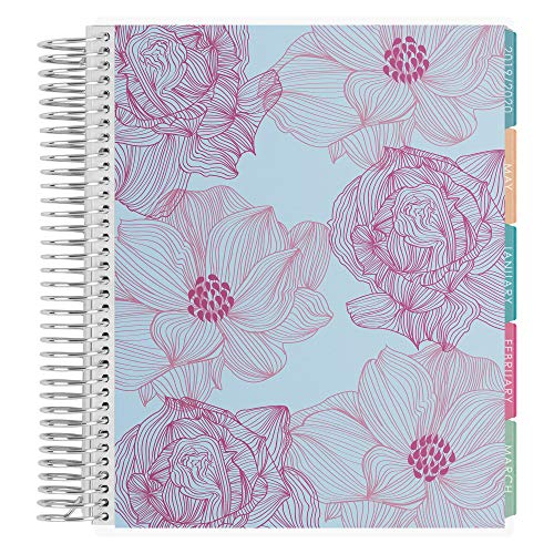 Erin Condren 12 - Month 2020 Coiled Life Planner 7x9 (January - December 2020) - Sketched Blooms (Raspberry & Baby Blue), Horizontal(Colorful Layout). Daily Agenda with Monthly Calendar Tabs