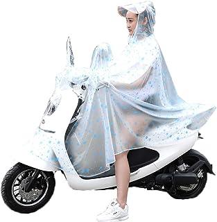 レインコート- 透明レインコート女性の大人の乗馬電池車の自転車女性のポンチョ (色 : Snowflake blue, サイズ さいず : XXXL)