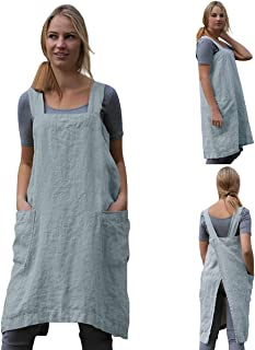 Cotton Linen Apron Cross Back Apron for Women with Big Pockets Square Pinafore Dress for Baking Cooking BBQ & Grill
