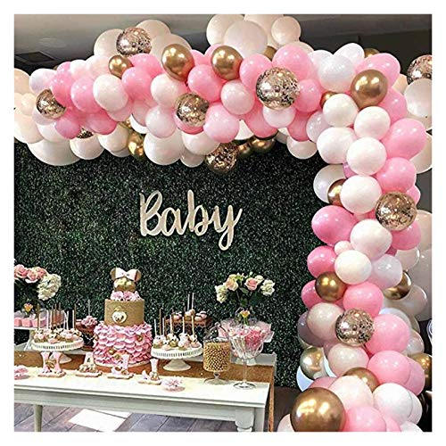 JSJJAER Balloon 127pcs Pink Balloon Arch Garland Kit White Pink Gold Confetti Latex Balloons Baby Shower Wedding Birthday Party Decorations birthday (Color : Pink)