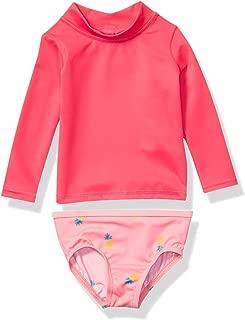 Amazon Essentials Baby Girls 2-Piece Long-Sleeve Rash Guard Set, Pink Pineapple, 9M