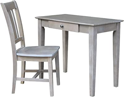 International Concepts Desk With Drawer - Small Size And Chair Washed Gray Taupe