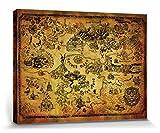 1art1 The Legend of Zelda - Mapa De Hyrule Cuadro, Lienzo Montado sobre Bastidor (80 x 60cm)