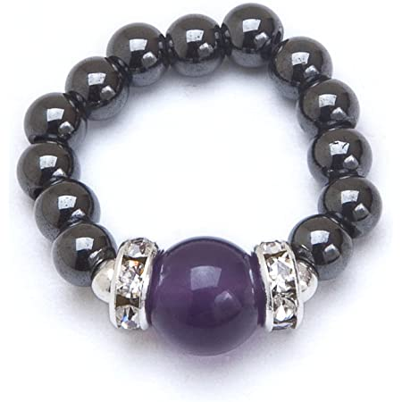 Black hematite star elastic bead ring one size