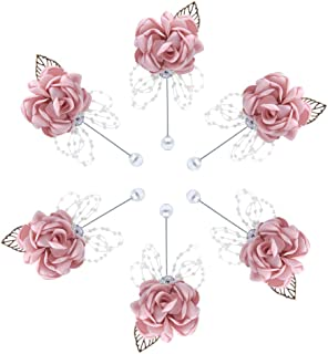 Buery 6 Pieces/lot Wedding Boutonniere Handmade Rose Boutonniere Corsage with Pin, Lapel Pin Rose Wedding Boutonniere for Wedding Prom Party Decor (Rhinestone Pink)