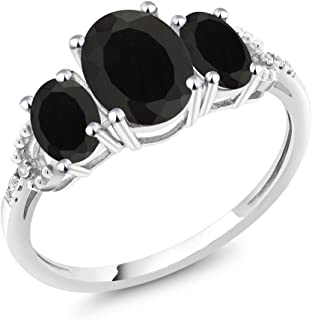 Gem Stone King 10K White Gold Black Onyx and Diamond Accent 3-Stone Women's Engagement Ring 2.08 Ctw (Available 5,6,7,8,9)