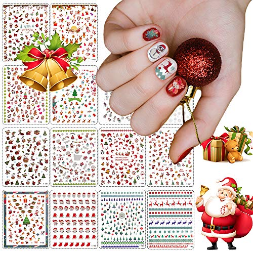 1000+ Patterns Christmas Nail Art Stickers Decals, Kalolary 3D Self-Adhesive Nail Stickers Santa Claus Reindeer Xmas Tree Sock Snowflakes Snowman Elk Nail Decals for Christmas Manicure(14 Sheets)