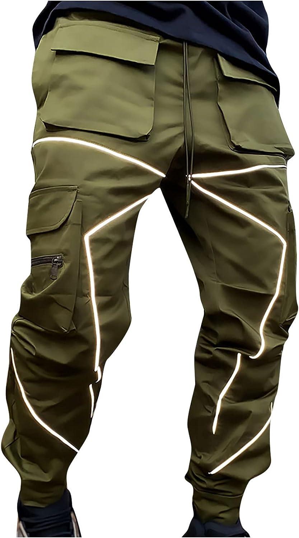 Men Streetwear Hip hop Punk Techwear Harem Reflective Pants with Multi Pocket Sweatpants Loose Cargo Trousers
