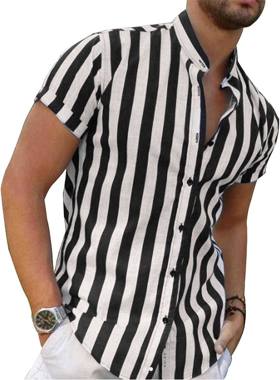 Mens Casual Button Down Shirt Short Sleeve Graphic Print Slim Fit Dress Shirt Top Summer Beach Hawaiian Classic Blouse