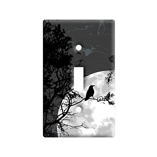 Raven at Night - Black Bird Full Moon - Plastic Wall Decor Toggle Light Switch Plate Cover