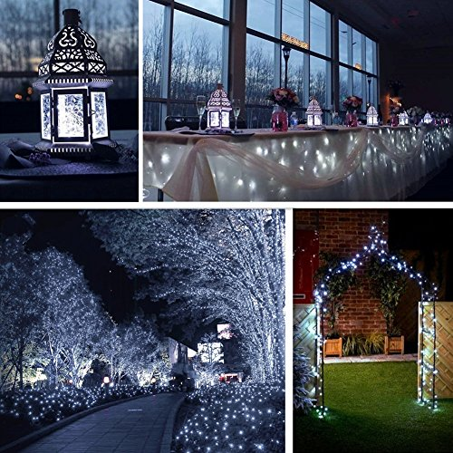 LiyuanQ Solar String Lights, 2 Pack 100 LED Solar Fairy Lights 33 feet 8 Modes Copper Wire Lights Waterproof Outdoor String Lights for Garden Patio Gate Yard Party Wedding Indoor Bedroom Cool White