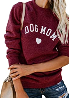 Dog Mom Pullover Tops for Women Funny Dog Graphic Long Sleeve T-Shirt Blouse Sweatshirts