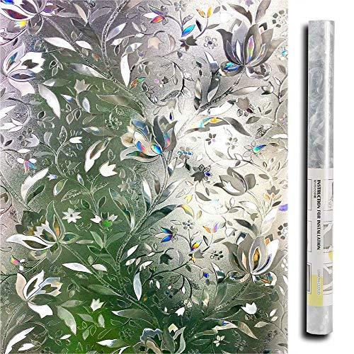 Lemon Cloud 3D ohne Klebstoff Fensterfolie Dekorfolie Sichtschutzfolie Blumen Tulpe Privatsphäre Schutz Fenster Folie für Heim Kueche Buero 90 * 200CM
