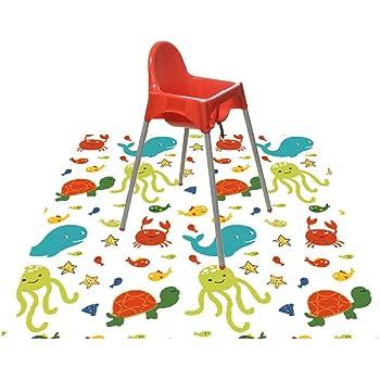 "Splat Mat for Under Highchair/Arts/Crafts, WOMUMON Baby Reusable Waterproof Anti-Slip Floor Splash Mat, Portable Play Mat and Table Cover (51"", Seaworld)"