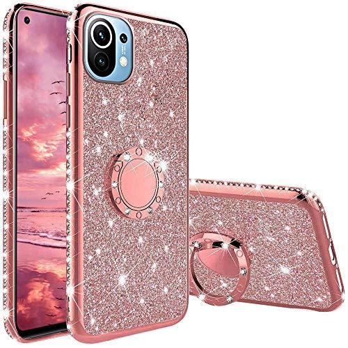 XTCASE Funda para Xiaomi Mi 11 5G, Glitter Diamante Brillo Carcasa 360 Grados Soporte Anillo Giratorio Resistente de Gel Silicona TPU Anti-Rasguños Bling Cover - Rosa
