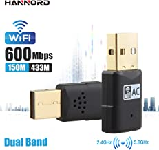 Hannord Mini USB WiFi Adapter Wireless Network Card for PC AC600 Dual Band 2.4GHz/5.8GHz Wireless WiFi Dongle for Laptop Desktop Compatibe with Win10/8/8.1/7/Vista/XP, Mac OS, Linux