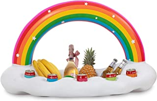 Vickea Inflatable Rainbow Cloud Drink Holder, Pool Float Party Accessories for Water Fun
