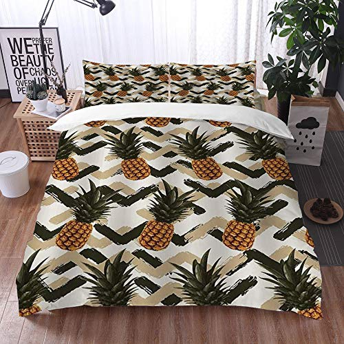 Qinniii Duvet Cover Bedding Sets,Retro Style Orange Pineapple Tropical Fruits with Green and Beige Zig Zag Pattern,3-Piece Comforter Cover Set 200 x 200 cm +2 Pillowcases 50 * 80cm