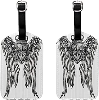 Labels Tags With Strap Fleur De Lis Decor Collection,Tribal Tattoo Design with Wings Aged Arms Badge Crest Crown Eagle,Black and White Leather Strap - Set of 2