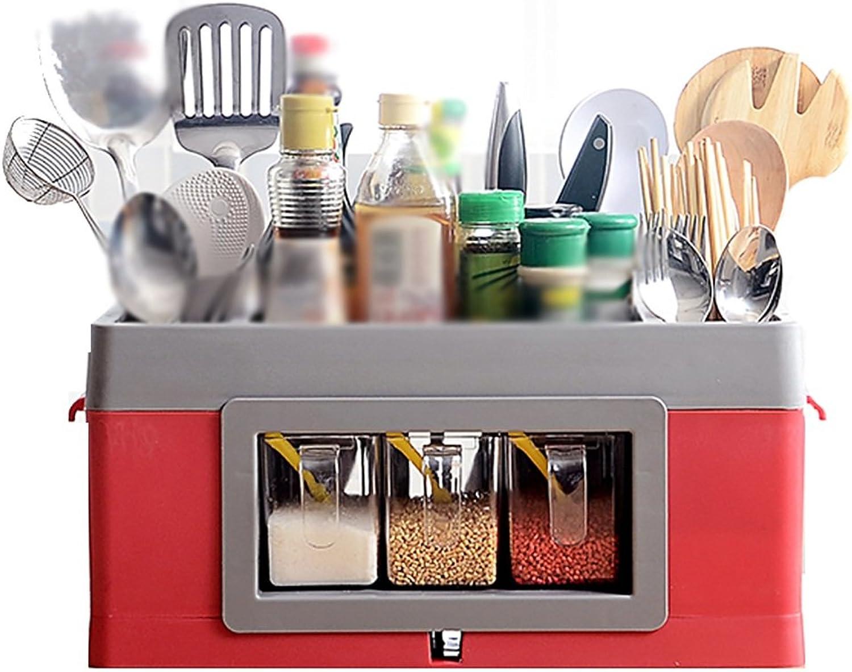 Jian E- Storage Rack - Creative Multi-Function greenical Kitchen Supplies Seasoning Shelf Kitchen Storage Box (Size  42 X 21.5 X 20cm) (color   Red)