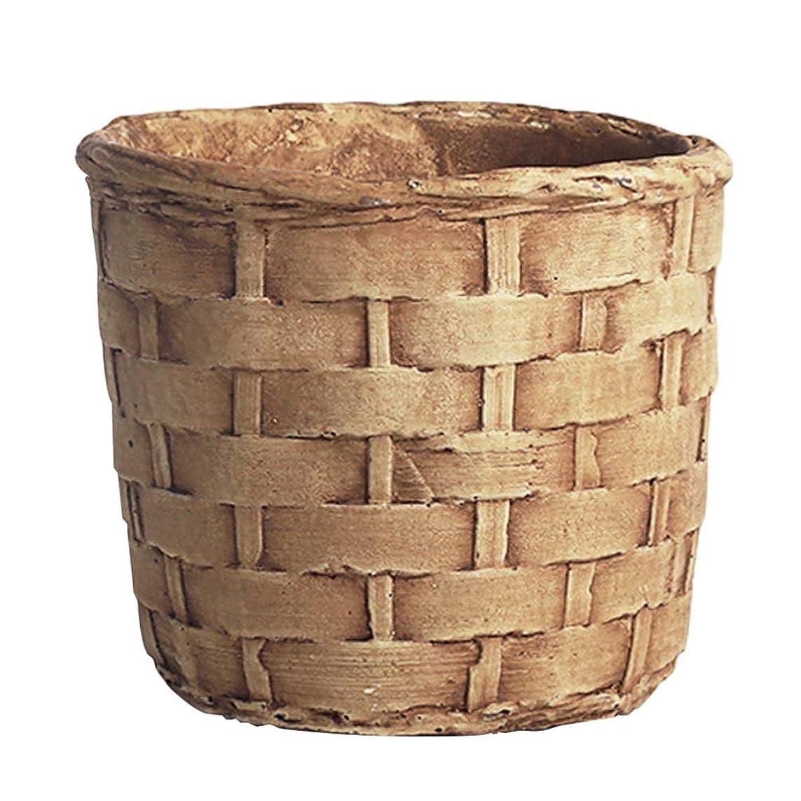 アーティキュレーションアクション申し立てるYardwe ヴィンテージセメント植木鉢模造竹サボテン多肉プランター植木鉢素朴な卓上装飾サイズs