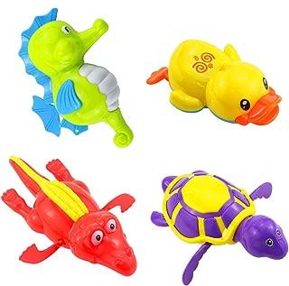 Heatoe 4 Pcs Children's Bath and Water Toys, Bathroom Tub Pool, Cute Swimming Turtles & Ducks & Hippocampus & Crocodiles, Baby Toys, Random Colors.