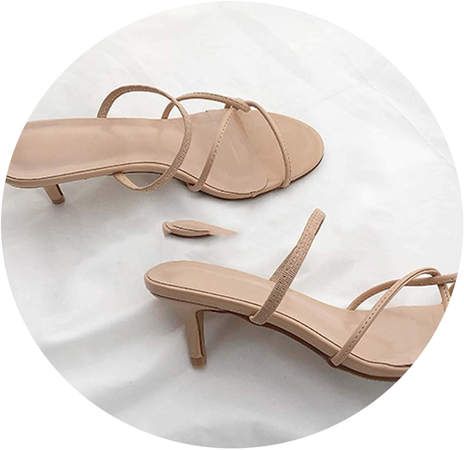 2019 New Sandals Female Summer Wear Medium with Two Sandals Open Toe High Heels 5cm Fine with Nude color,6.5