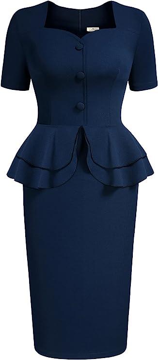 Vintage Style Dresses | Vintage Inspired Dresses AISIZE Womens 1940s Vintage Square Peplum Bodycon Cocktail Dress  AT vintagedancer.com